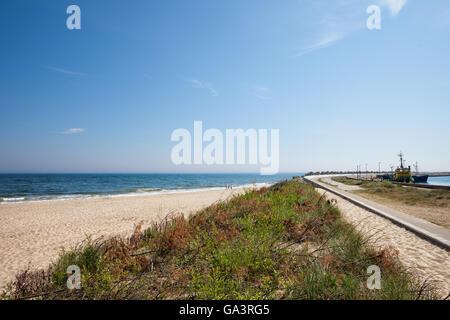 Poland, Pomerania, Kashubia, Wladyslawowo resort town, beach at Baltic Sea - Stock Photo