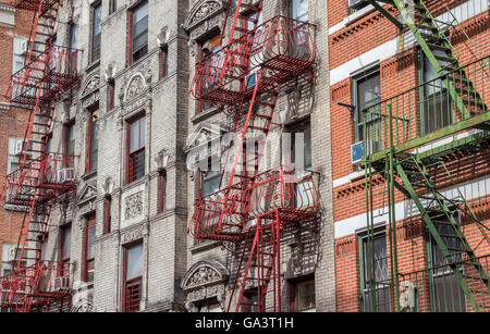 Old buildings with fire stairs in New York ity, USA - Stock Photo