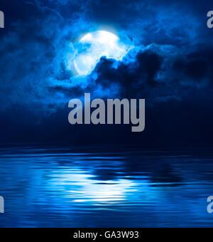 Dark Blue Night Full Moon Over Water - Stock Photo