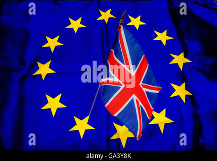 Brexit. Flags of European Union and United Kingdom - Stock Photo