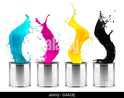 colorful CMYK color dose splash row isolated on white background - Stock Photo