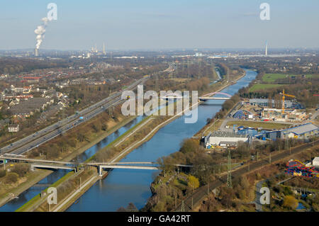 View from Gasometer, to Rhine-Herne-Canal, river Emscher, A 42, Oberhausen, North Rhine-Westphalia, Germany - Stock Photo