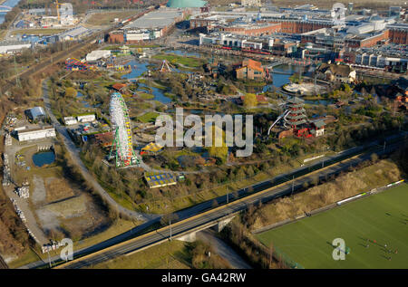 View from Gasometer, on CentrO Park, Shopping centre CentrO, Oberhausen, Ruhr area, North Rhine-Westphalia, Germany - Stock Photo