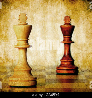 two chess kings with grunge effect - Stock Photo