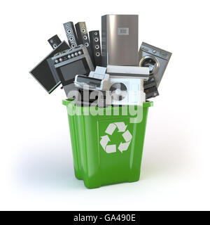 Old kitchen appliances in the rubbish bin isolated on white. Time to change home technics. Recycling concept. 3d - Stock Photo