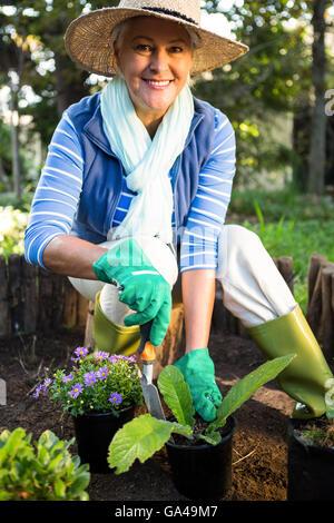 Portrait of happy gardener planting at garden - Stock Photo