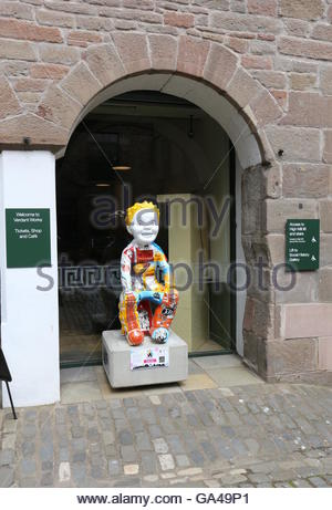 Jute Jam and Journalism sculpture by Alice Newman on Oor Wullie Bucket Trail at Verdant Works Dundee Scotland  June - Stock Photo