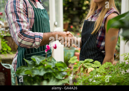 Midsection of colleagues shaking hands at greenhouse - Stock Photo