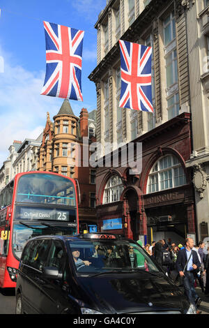 Oxford Circus tube station on Oxford Street in London's West End, in England, UK - Stock Photo