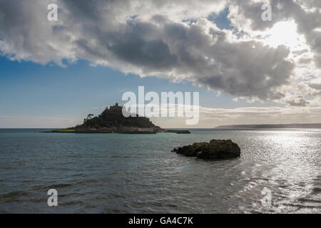 St Michael's Mount from the Godolphin Arms, Marazion, Cornwall - Stock Photo