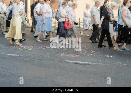 Corpus Christi procession in the street of Gdynia, Poland, Europe - Stock Photo