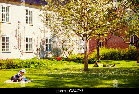 Royal Library Gardens near Christiansborg Palace, small relax oasis in the heart of the city - Stock Photo