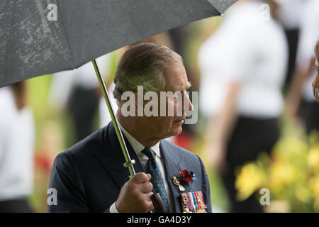 Britain's Prince Charles attends the 100th centenary anniversary of the start on the Battle of the Some in Theipval, - Stock Photo