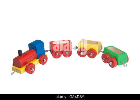 Colorful wooden model railway with steam locomotive and goods waggons, isolated - Stock Photo