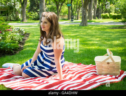 A gorgeous young woman, on a picnic at the park, on a beautiful summer day.  *** MODEL RELEASE AVAILABLE UPON REQUEST. - Stock Photo