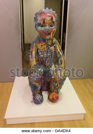 Statues of Oor Wullie at Bucket Trail headquarters in Overgate Dundee before heading off on a tour of Scotland  - Stock Photo