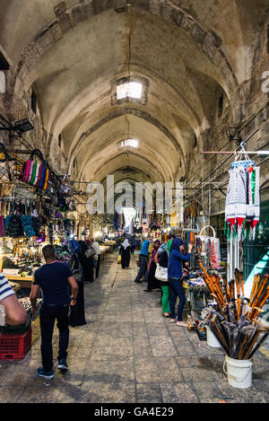 palestinian souk bazaar market street shops stalls in jerusalem old town israel - Stock Photo