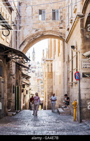 jerusalem city old town street in israel - Stock Photo