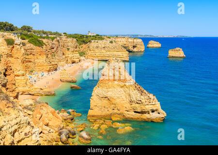 Marinha beach and cliffs on coast of Portugal near Carvoeiro town - Stock Photo