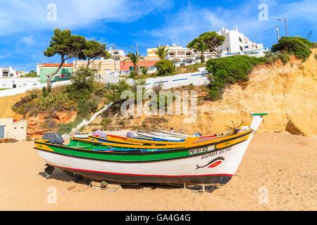 CARVOEIRO BEACH, PORTUGAL - MAY 17, 2015: typical fishing boats on beach in Carvoeiro coastal village. Carvoeiro - Stock Photo
