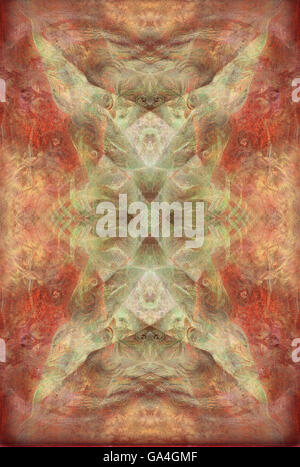 abstract background with ornament in reddish ocre tones - Stock Photo