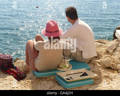 young couple,romance,leisure,daytrippers,nature,water,Rovinj,Croatia,Adriatic - Stock Photo