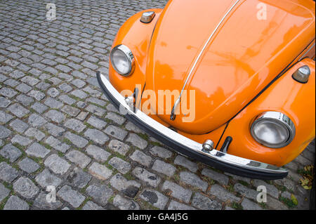 RIO DE JANEIRO - MARCH 24, 2016: Classic bright orange Volkswagen Type 1 Beetle, known locally as a Fusca, in Santa - Stock Photo