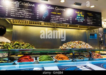 Restaurant specialized fresh vegetables on the market of La Boqueria, next to Les Rambles in Barcelona, Catalonia, - Stock Photo