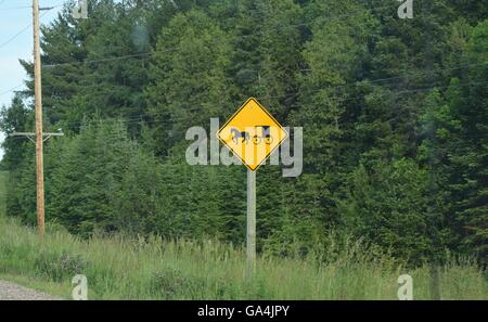Amish horse and buggy road sign in northern Wisconsin - Stock Photo