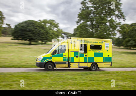 999 NHS Emergency North west ambulance service countryside vehicle en-route to incident in rural Leighton Hall, - Stock Photo