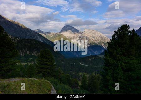 Preda View from Albula pass into Albula valley Switzerland Graubünden, Grisons Albula - Stock Photo