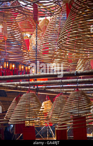 Incense coils in Man Mo Temple - Stock Photo
