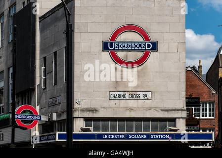 Leicester Square tube station on Charing Cross Road.  Part of the London Underground metro system - Stock Photo