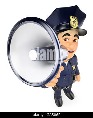3d security forces people illustration. Policeman talking on a megaphone. Isolated white background. - Stock Photo