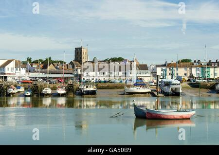 Shoreham-by-Sea view. We can see the boats, the river and the town with the church tower on the top. - Stock Photo
