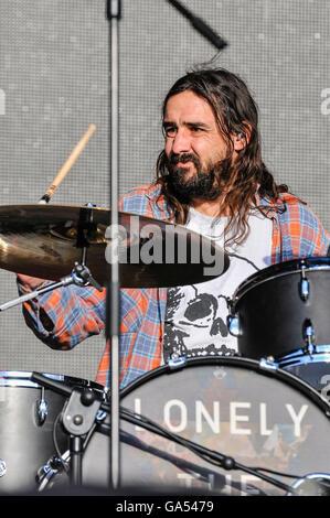 BELFAST, NORTHERN IRELAND. 25 JUN 2016 - Drummer Gavin Edgeley from the Cambridge based alternative rock band 'Lonely - Stock Photo