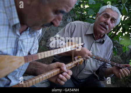musicians playing Cura and Saz (Traditional Anatolian Music Instruments. - Stock Photo