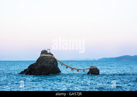 The Married Couple Rocks, or Meoto Iwa, in Ise, Japan - Stock Photo