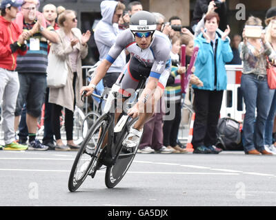 Frankfurt, Germany. 03rd July, 2016. Andreas Boecherer (Germany) in the cycle leg of the Ironman event in Frankfurt, - Stock Photo