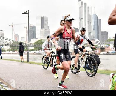 Frankfurt, Germany. 03rd July, 2016. Winner of the of the Ironman event Melissa Hauschildt (Australia) in the running - Stock Photo