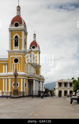 Nicaragua Granada: Our Lady of the Assumption Cathedral at central park - Stock Photo