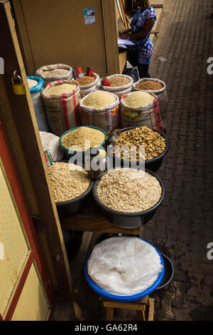 African foods in sacks for sale at Oshodi market, Lagos - Stock Photo