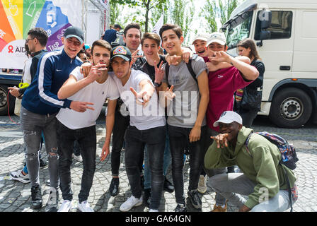 Paris, France, Group of Diverse Young French Teenagers Posing at French Gay Pride, LGBT on Street - Stock Photo