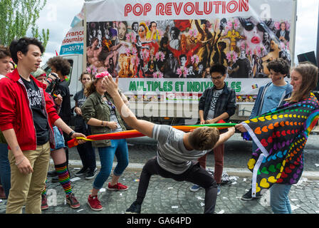 Paris, France, French Group of Teenagers, Playing at Gay Pride, LGBT Activism, on Street,  activism art