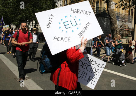 02/07/2016 March for Europe, Anti-Brexit protest, London, UK - Stock Photo