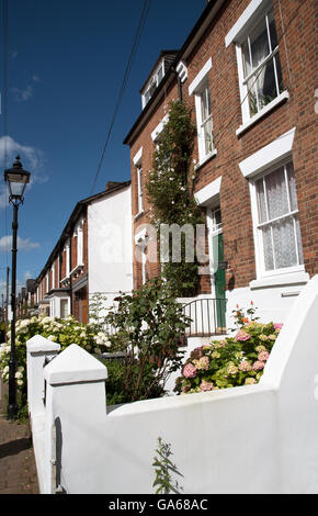 WINCHESTER HAMPSHIRE ENGLAND UK  Terraced houses with small gardens in the city center - Stock Photo
