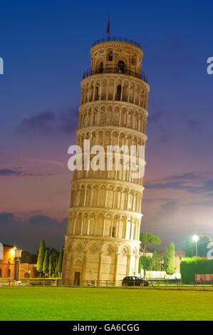 Leaning tower in Pisa at night, Italy. - Stock Photo