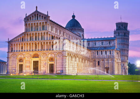 Piazza del Duomo (cathedral) at night in Pisa, Italy. - Stock Photo