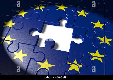 3d illustration Brexit, the missing piece in a puzzle EU - Stock Photo