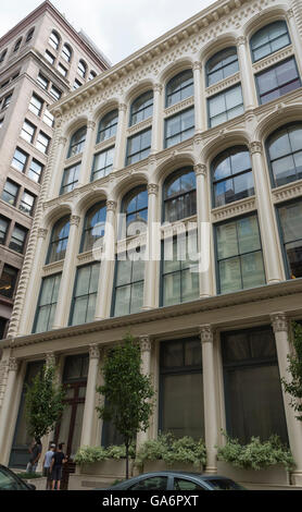 Landmarked building Condict Store (55 White Street) in Tribeca, New York, with cast iron 'sperm candle' facade - Stock Photo